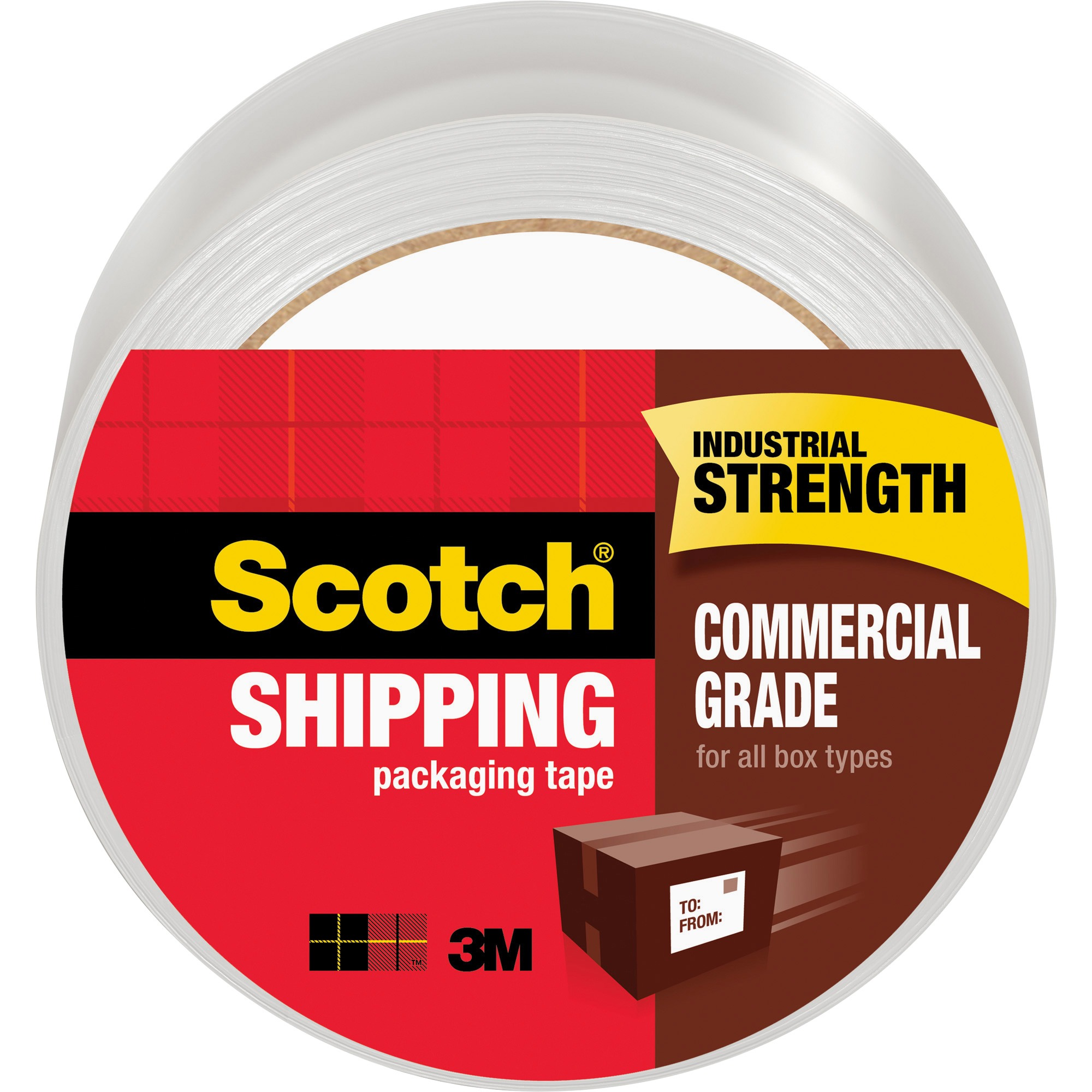 "Scotch Commercial Grade Shipping & Packaging Tape, 1.88"" x 54.6 Yards per Roll, 3in. Core, Clear, 1 Roll"