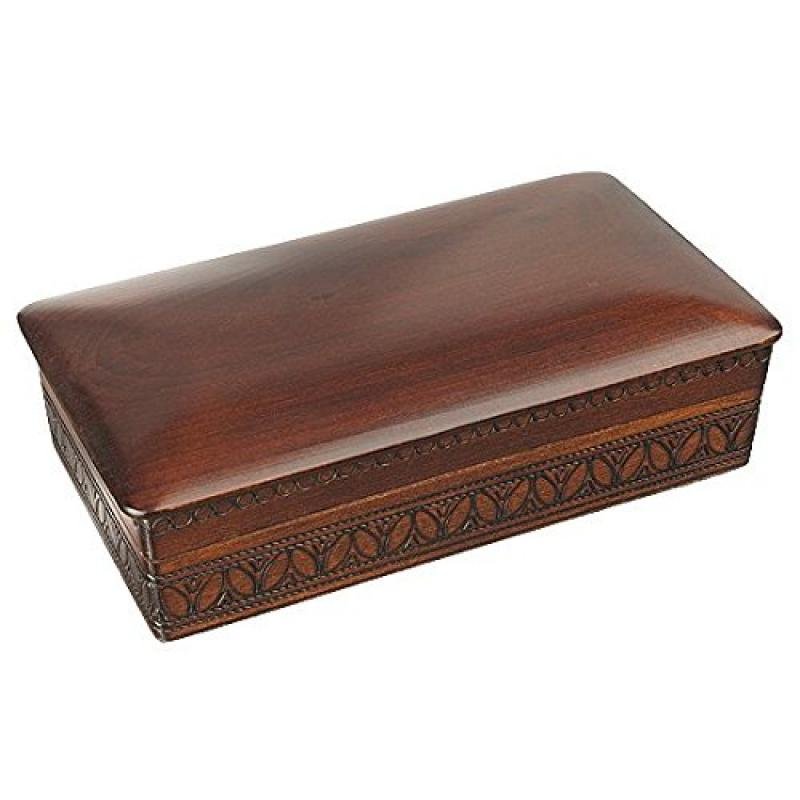 Espresso Stained Linden Wood Jewelry Keepsake Storage Box...