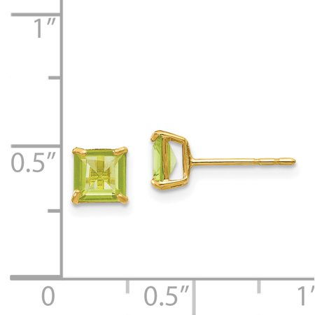 14k Yellow Gold Green Peridot 5mm Square Post Stud Earrings Birthstone August Gemstone Fine Jewelry Gifts For Women For Her - image 1 of 7