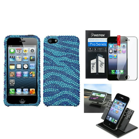 Insten Film+Holder+Baby Blue Zebra Skin Bling Diamante Diamond Case Cover for iPhone 5 / 5s