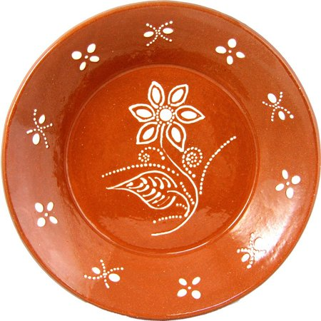 Portuguese Hand Painted Deep Terracotta Clay Serving Plate Ladeira -