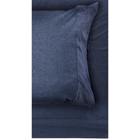 INK+IVY II20-709 Cotton Jersey Knit Heathered Sheet Set Full Navy,Full, Set includes: 1 flat sheet, 1 fitted sheet, 2 pillowcases By Ink+Ivy