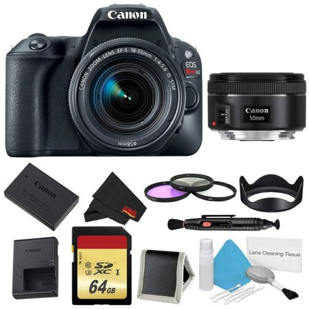 Canon EOS Rebel SL2 DSLR Camera with 18-55mm Lens (Black) 3 Piece Filter w/ Memory Kit + 50mm Lens (Intl Model)