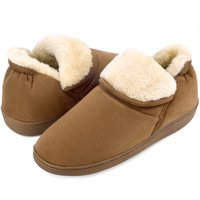 Men Soft Faux Fur Lined Suede House Slippers Memory Foam Slippers Anti-Skid Winter Indoor Outdoor Bootie Boot
