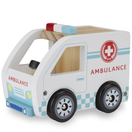 Wooden Cars Toys, Wooden Wheels Natural Beech Wood Ambulance Wooden Car Toys
