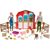 Barbie Sweet Orchard Farm Barn Playset With Barbie & Ken Dolls, Barn With Fence & 11 Animals