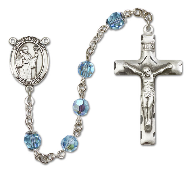 St. Augustine Catholic Rosary with Aqua Swarvoski (Austrian) Crystal Beads in All Sterling Silver by Bliss Mfg. Made in the USA!