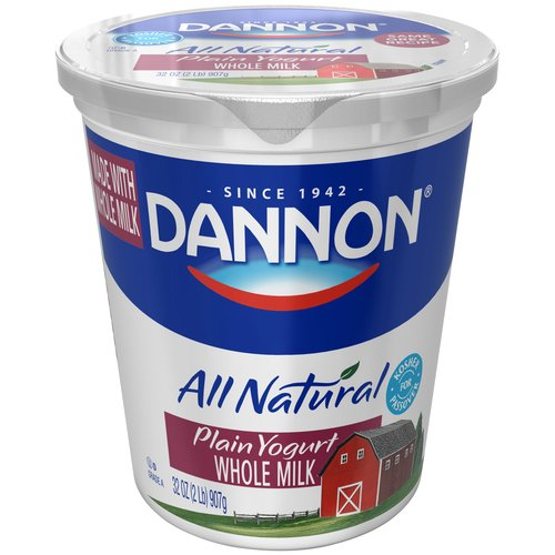 Dannon Plain All Natural Whole Milk Yogurt, 32 oz