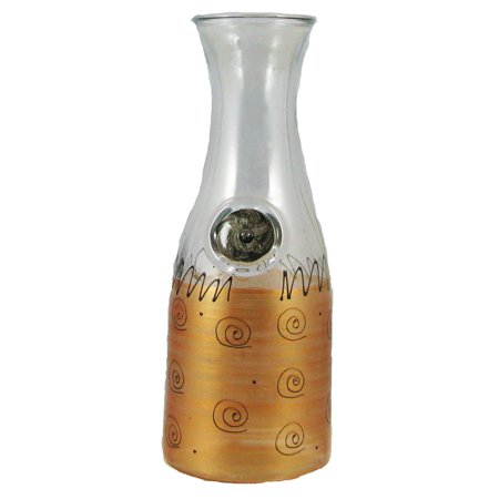 Gold Painted Glass - Gold & Black Swirls & Dots Hand Painted Glass Serving Carafe 34 Ounces
