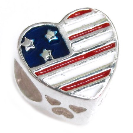 Queenberry Sterling Silver USA Flag Military Mom Heart Enamel European Style Bead Charm Fits