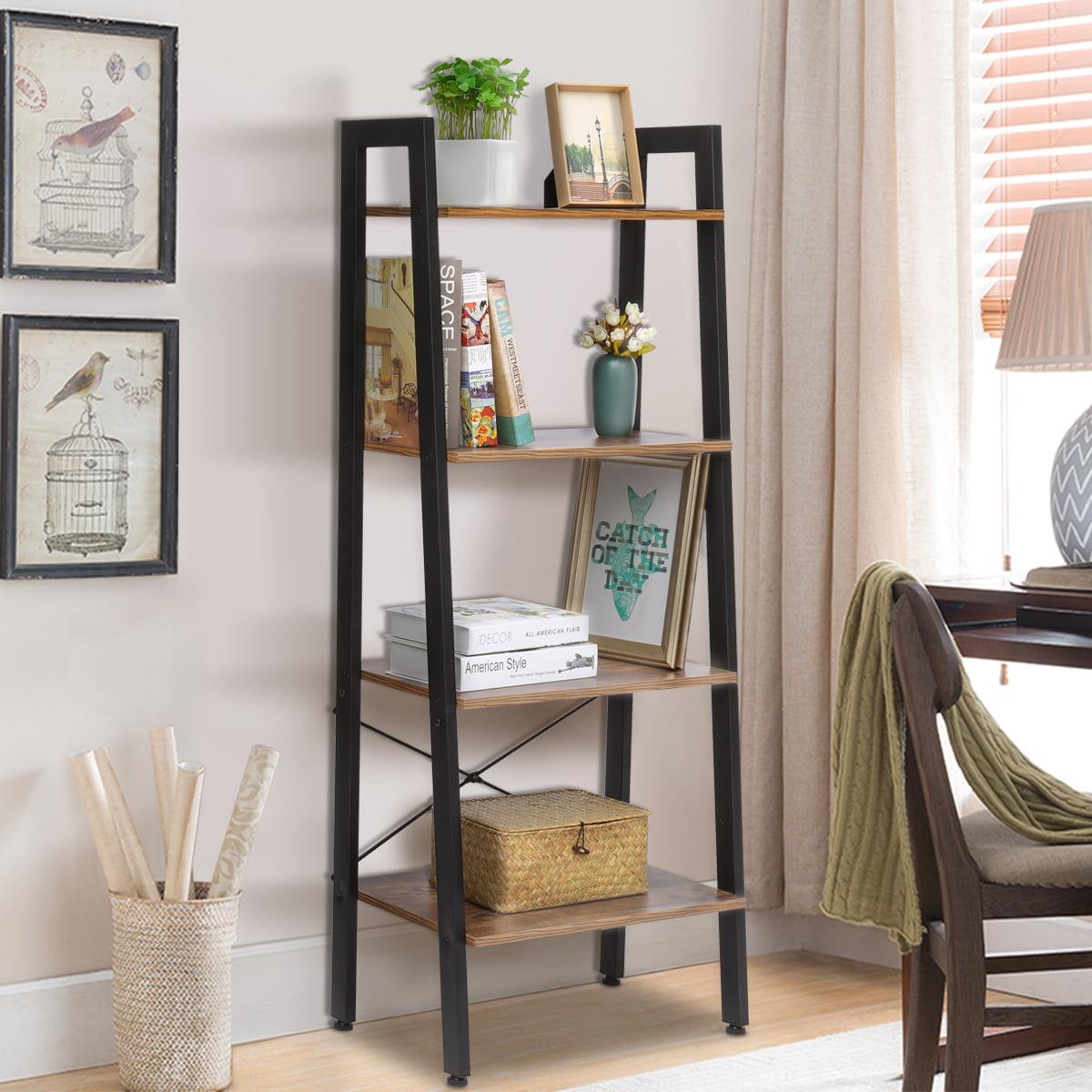 industrial shelf ladder bookshelf organizer 4tier