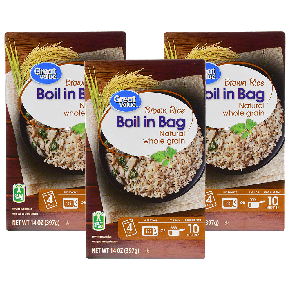 Great Value Boil In Bag Brown Rice 14 Oz 4 Count Walmart