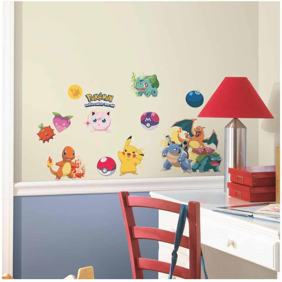 pokemon iconic peel and stick wall decals  walmartcom -