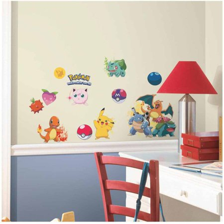 Pokemon iconic peel and stick wall decals for Peel and stick wallpaper walmart
