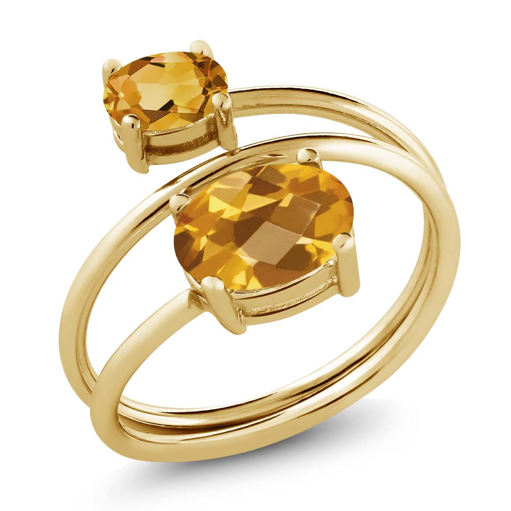 2.05 Ct Oval Checkerboard Yellow Citrine 18K Yellow Gold Plated Silver Ring