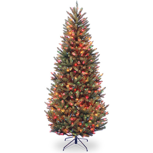 National Tree Pre-Lit 7-1/2' Natural Fraser Slim Fir Hinged Artificial Christmas Tree with 600 Multi Lights