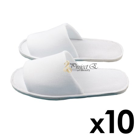 8d1e99948 Project E Beauty - Neoplane Cloth Slipper Spa Salon Hotel Use Unisex  Disposable Open Toes Slippers 10 Pairs - White - Walmart.com