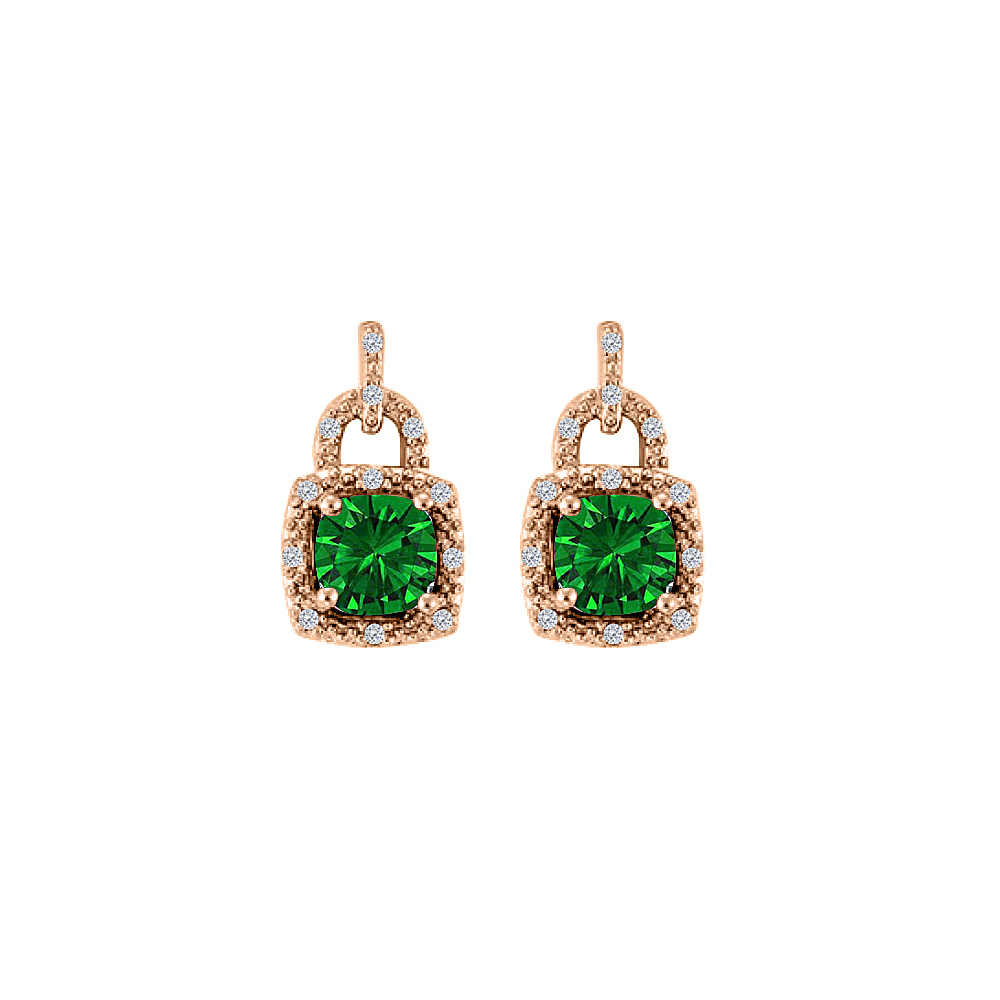 Lock Design Emerald CZ Earrings 14K Rose Gold Vermeil - image 2 de 2