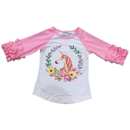Little Girl Kids Long Ruffle Sleeve Unicorn Print Tee Shirt Top Pink 2T XS 317648 BNY Corner
