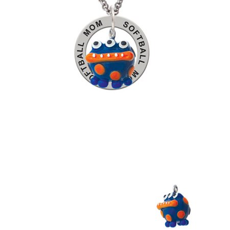 Dot Mother Of Pearl Ring - Resin Blue Monster with Orange Dots Softball Mom Affirmation Ring Necklace