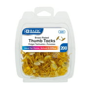 BAZIC Gold Thumb Tacks. 200 Push Pins for Crafts and Office Organization