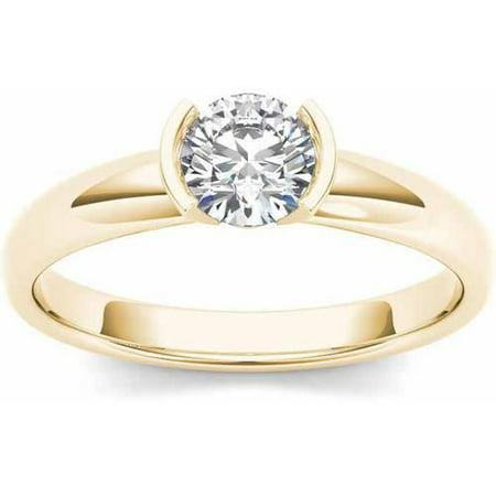 1 Carat T.W. Diamond Half Bezel Solitaire 14kt Yellow Gold Engagement Ring