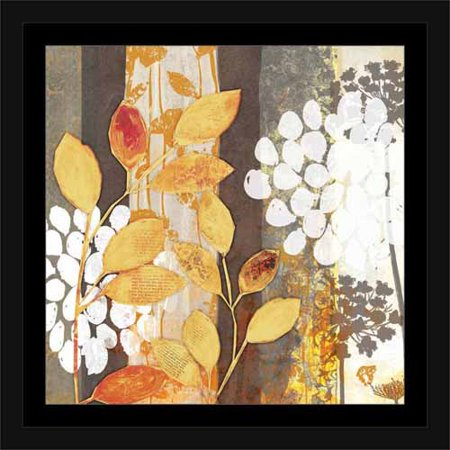 Flowers Framed Art - Abstract Stripes & Silhouettes Of Leaves & Flowers Nature Painting Yellow & Grey, Framed Canvas Art by Pied Piper Creative
