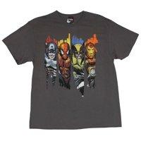 Marvel Comics Mens T-Shirt -  Full Color Swathes of Cap Spidey Wolvy & Iron Man