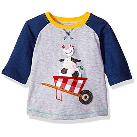 Tee Mud Pie (Mud Pie Baby Boys Farm Friends Long Sleeve Raglan T-Shirt, Gray, LG/ 4T-5T )