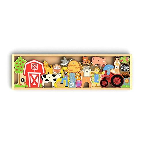 Eco-Friendly Rubber Wood Puzzle BeginAgain Toys Farm A-Z by Begin Again Toys