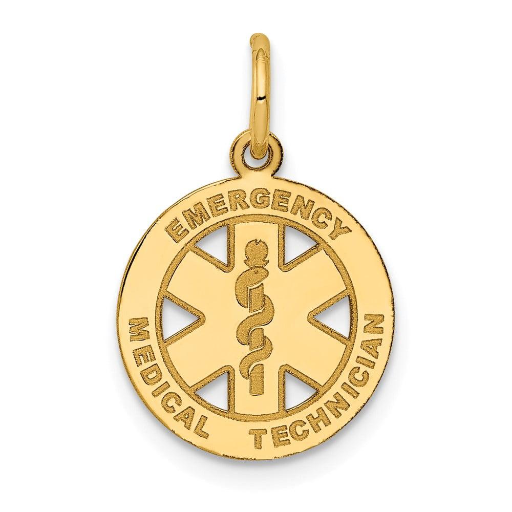 14k Yellow Gold Small EMT Medical Pendant