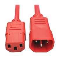 3 ft. Standard Computer Power Extension Cord 10A - 18 AWG C14 to C13, Red