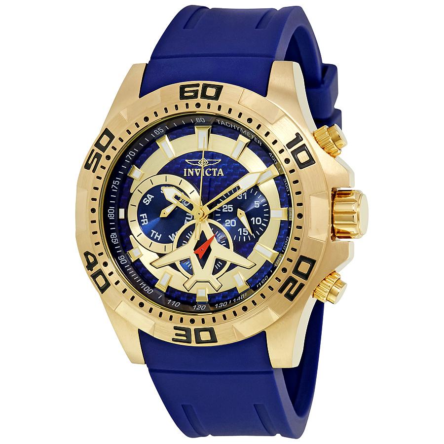 Invicta Aviator Multi-Function Blue Carbon Fiber Dial Mens Watch 21737 by Invicta