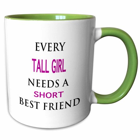 3dRose EVERY TALL GIRL NEEDS A SHORT BEST FRIEND - Two Tone Green Mug,
