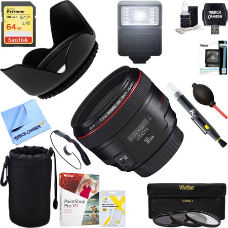 Canon (1257B002) EF 50mm f / 1.2L USM Lens with Case and Hood + 64GB Ultimate Filter & Flash Photography (Best Canon Lenses For Photography)