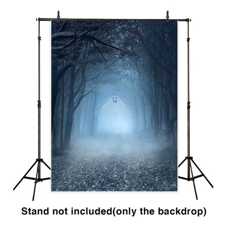 HelloDecor Polyster 5x7ft Halloween Backdrop Plump Ghost Coming from the Spooky Forest Background for Photography or Decoration (Spooky Halloween Forest Backgrounds)