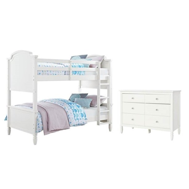 2 Piece Kids Bedroom Set with Bunk Bed and Dresser in White