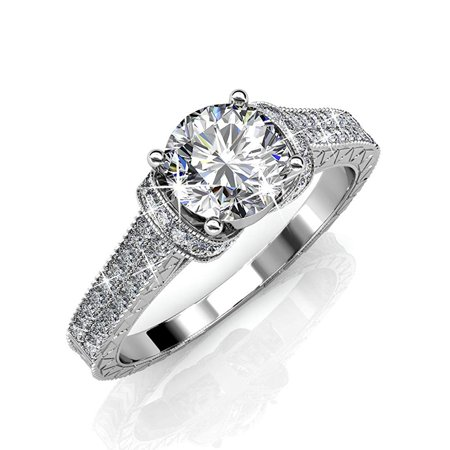Filigree Ring Jewelry (Cate & Chloe Laya Ruler 18k White Gold Plated Ring, Engagement Ring, Wedding Ring, Bridal Jewelry, Promise Ring, Engraved Ring, Filigree - MSRP $176(8) )
