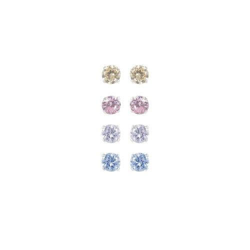CZ Sterling Silver Basket-Set Multi-Color Stud Earrings Set, 4mm, 3 Pairs