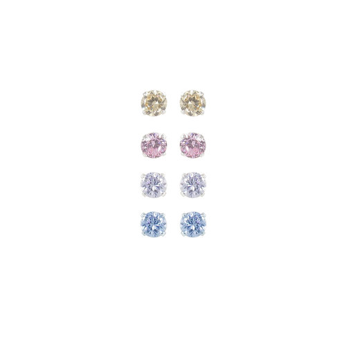 CZ Sterling Silver Basket-Set Multi-Color Stud Earrings Set, 4mm, 3 Pairs