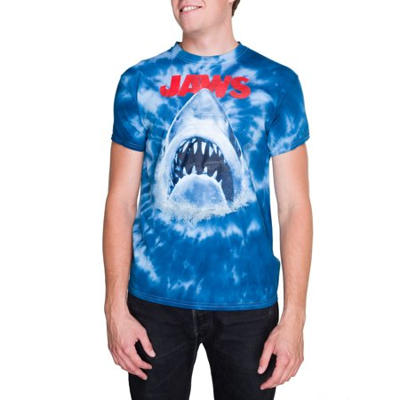 Mens Jaws Short Sleeve Graphic Tie Dye Crew Tee