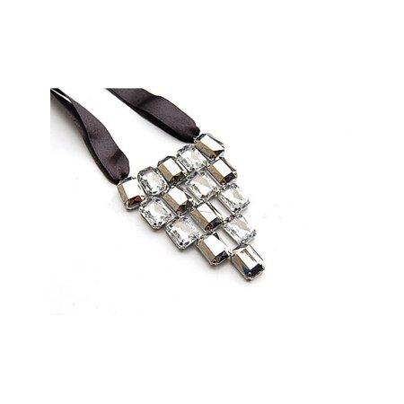 Fashion Ribbon (Black Ribbon Acrylic Crystal Metallic Bead Jeweled Bib Fashion V Shape)