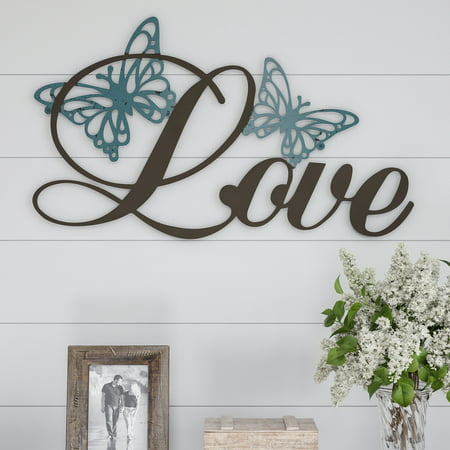 Metal Cutout- Love Decorative Wall Sign-3D Word Art Home Accent Decor-Perfect for Modern Rustic or Vintage Farmhouse Style by Lavish Home ()