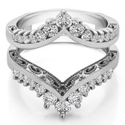 0.98 Ct. Filigree Vintage Wedding Ring Guard With Cubic Zirconia Mounted in Sterling Silver (Size 6, 7 or 8)