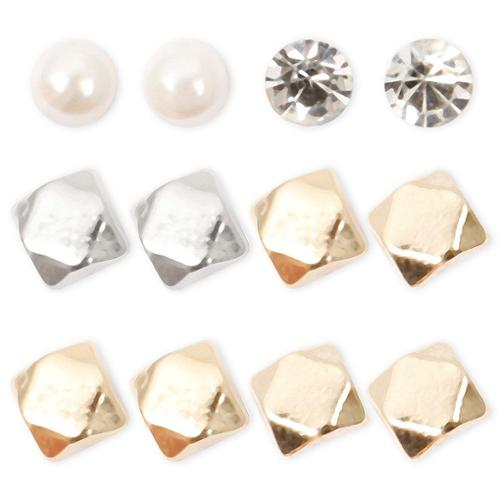 BMC 6 pc Gold Silver Colored Metal Mixed Shape Rounds Fashion Stud Earrings
