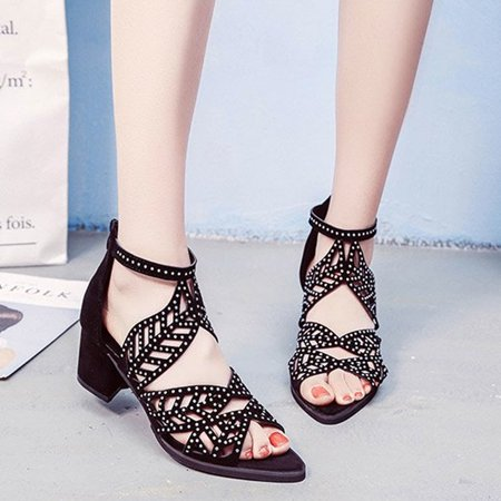 0ce9a3e007 bluelans - Women Summer Hollow Out Faux Leather Rhinestones Thick ...