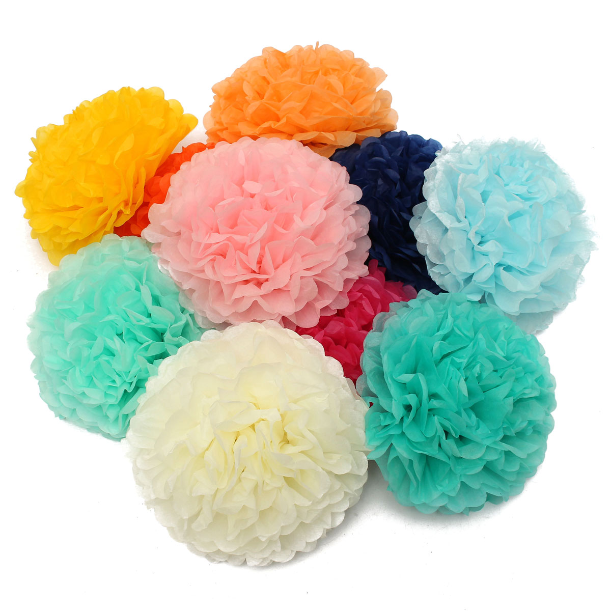 """6/"""" 8/"""" 10/"""" 12/"""" 15/"""" pompoms paper ball fabric flowers decoration weddings party"""