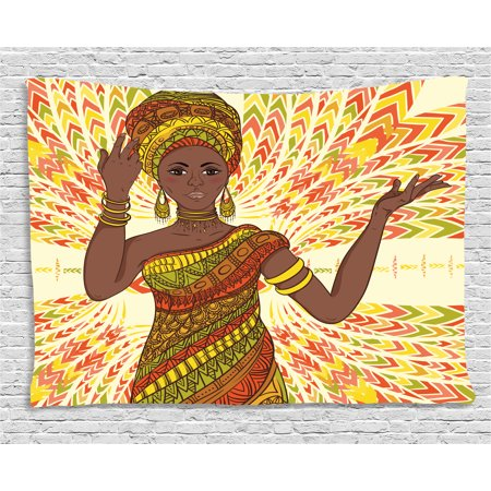 African Woman Tapestry, Dancing Woman Hand Drawing Ethnic Geometric Ornament Colorful Print, Wall Hanging for Bedroom Living Room Dorm Decor, 80W X 60L Inches, Green Red Yellow, by Ambesonne