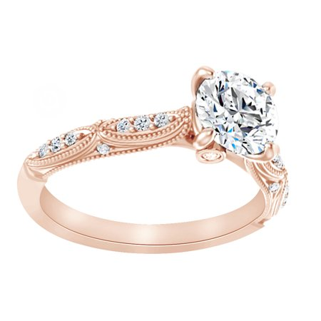 Vintage Simulated Moissanite & Natural Diamond Engagement Band Ring In 14K Rose Gold, - Simulated Diamond Vintage Ring