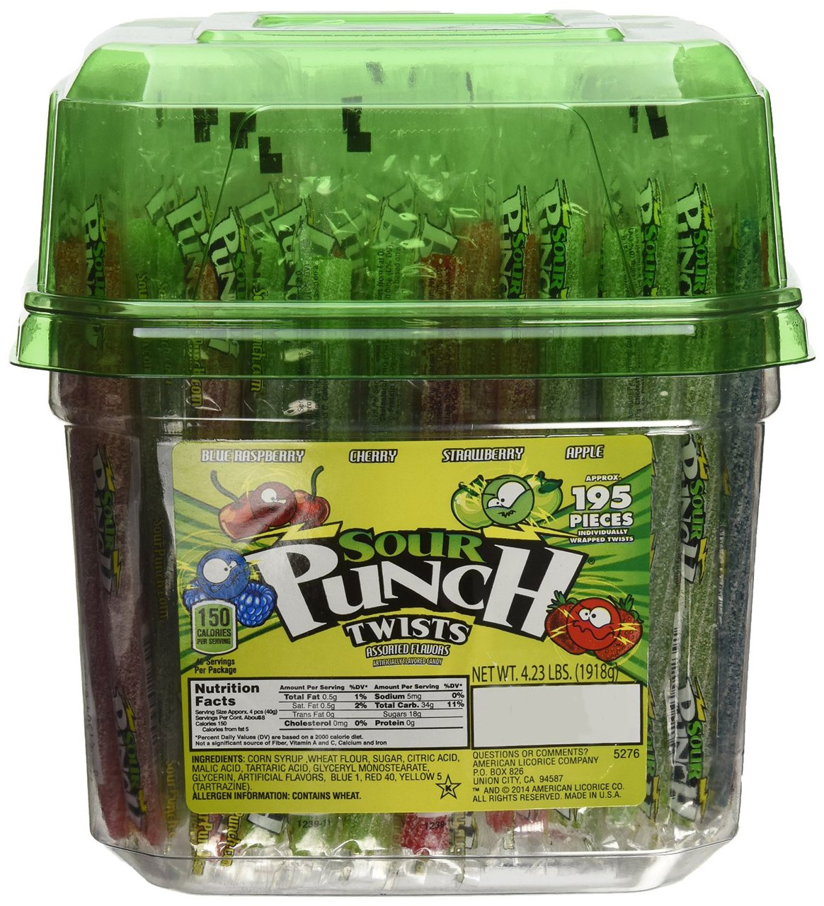 6 PACKS : Wrapped Sour Punch Candy Straw Twists 4 Flavors - 195 Ct. Tub,4.23LBS